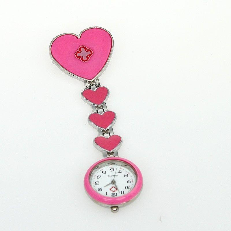 Přívěskové hodinky pro zdravotní sestry SRDCE - růžové