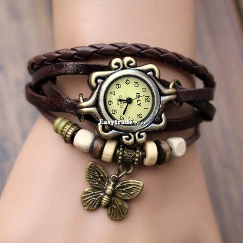 dámské hodinky s motýlkem - hnědé
