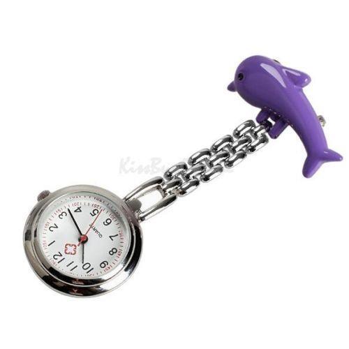 Přivěskové hodinky pro zdravtoní sestry delfín - Přívěskové hodinky pro zdravotní sestry Delfín fialové