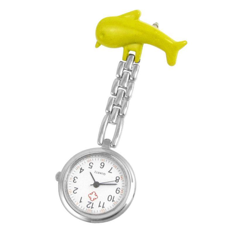 Přivěskové hodinky pro zdravtoní sestry delfín - Přívěskové hodinky pro zdravotní sestry Delfín žluté