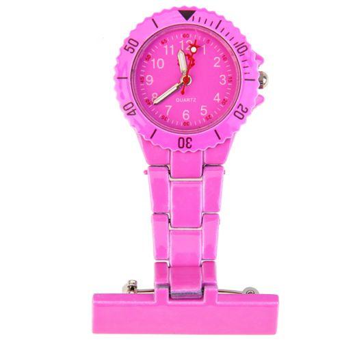 Přivěskové hodinky pro zdravtoní sestry MODERN - tmavě růžové