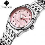 elegantní dámské náramkové hodinky - růžové