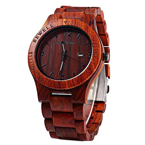 Pánské dřevěné hodinky BeWell, různé barvy - Red