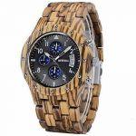 Pánské dřevěné hodinky BeWell se stopkami Black
