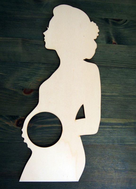 Rámeček na ultrazvuk silueta těhotné ženy velká bez textu