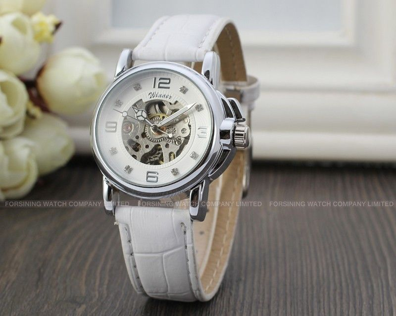 Winner dámské mechanické skeleton hodinky bílé